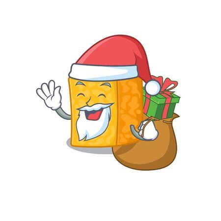 Santa colby jack cheese Cartoon character design having box of gift