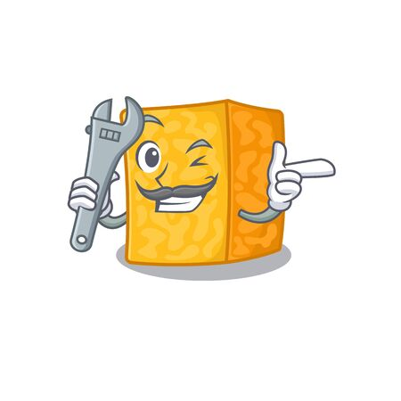 Smart Mechanic colby jack cheese cartoon character design Imagens - 138459669