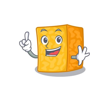One Finger colby jack cheese in mascot cartoon character style Imagens - 138459670