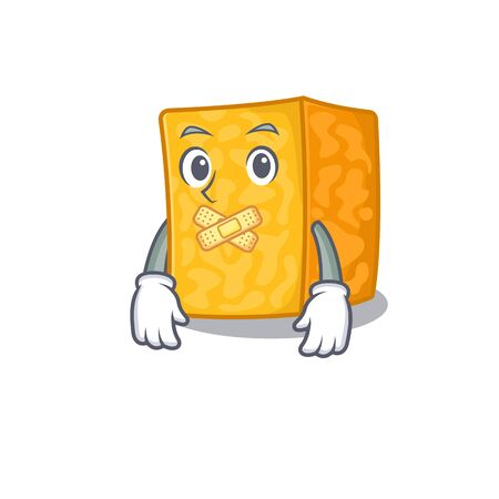 a silent gesture of colby jack cheese mascot cartoon character design Imagens - 138459674