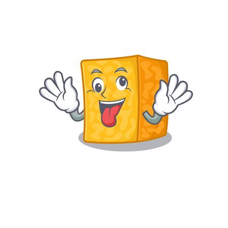 Colby jack cheese Cartoon character style with a crazy face