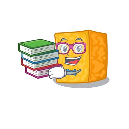 Cool and clever Student colby jack cheese mascot cartoon with book