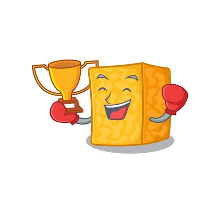 fantastic Boxing winner of colby jack cheese in mascot cartoon style Imagens - 138460067