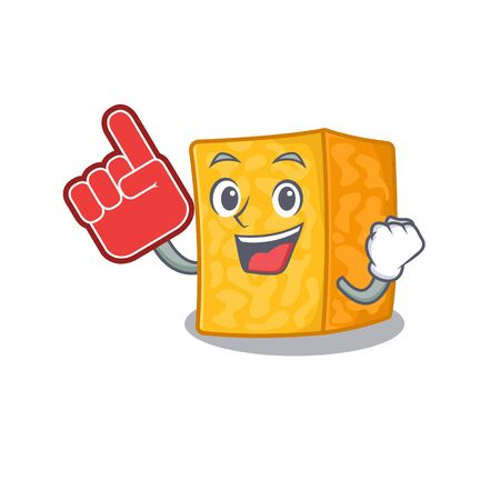 Colby jack cheese mascot cartoon style holding a Foam finger