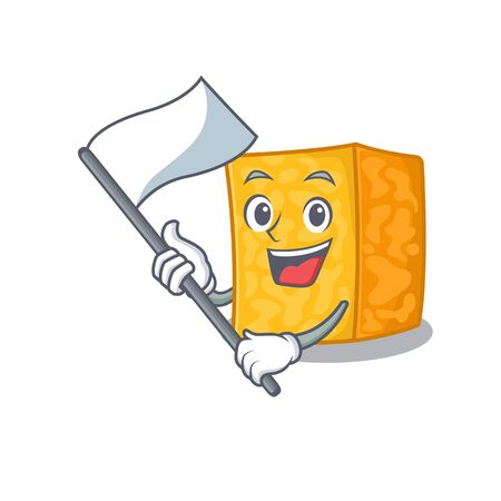 Funny colby jack cheese cartoon character style holding a standing flag. Vector illustration