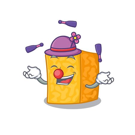Smart colby jack cheese cartoon character design playing Juggling