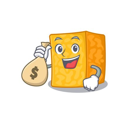 Happy rich colby jack cheese cartoon character with money bag 向量圖像