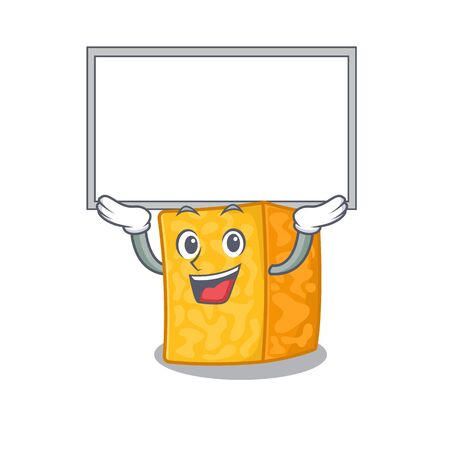 A mascot picture of colby jack cheese raised up board