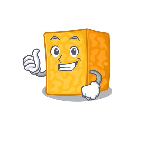 Cheerfully colby jack cheese making Thumbs up gesture Illustration