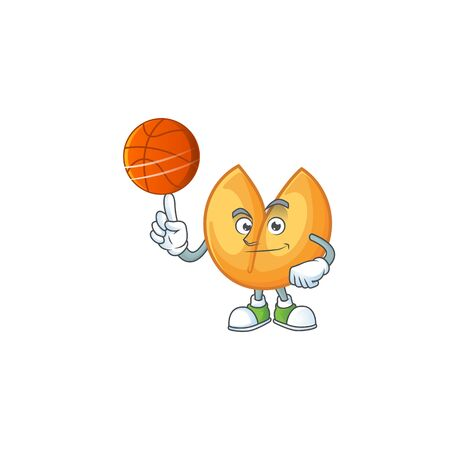 a Healthy chinese fortune cookie cartoon character playing basketball. Vector illustration Stok Fotoğraf - 138460086