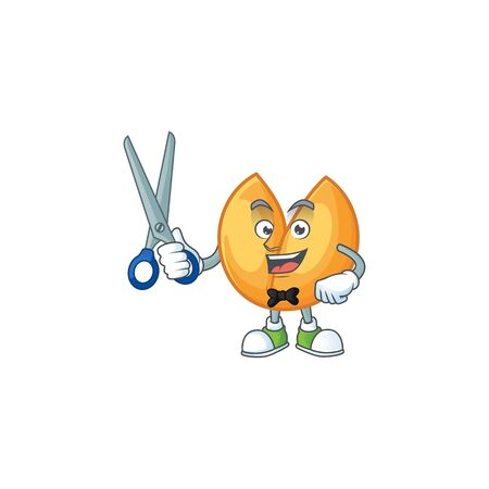Cool friendly barber chinese fortune cookie cartoon character style. Vector illustration Stok Fotoğraf - 138460089