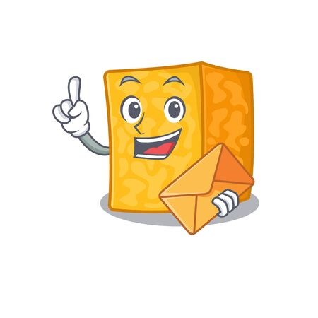 Cheerfully colby jack cheese mascot design with envelope