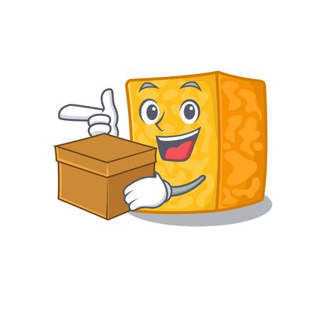 Cute colby jack cheese cartoon character having a box Banque d'images - 138460101