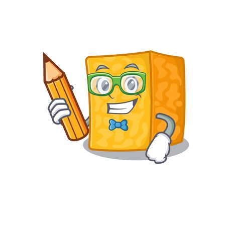 A picture of Student colby jack cheese character holding pencil Stok Fotoğraf - 138460102