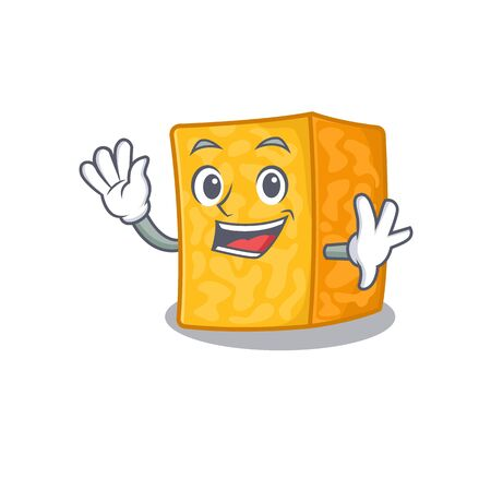Waving friendly colby jack cheese cartoon character design. Vector illustration