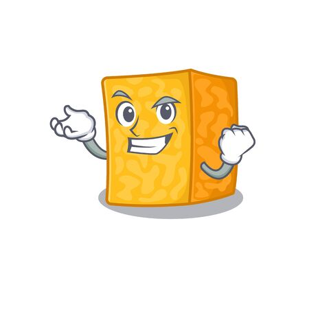 Happy confident Successful colby jack cheese cartoon character style
