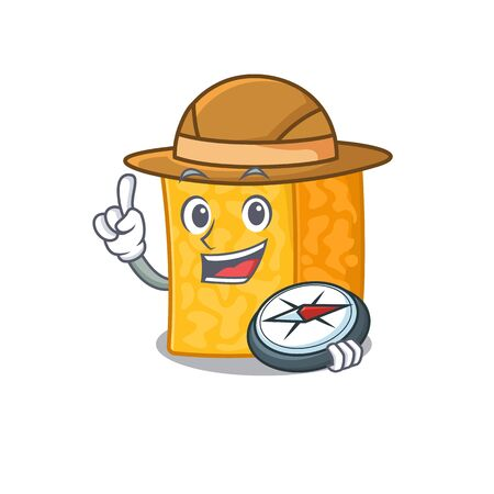 Colby jack cheese stylized Explorer having a compass Imagens - 138460152
