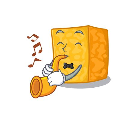 cartoon character style of colby jack cheese performance with trumpet Imagens - 138460182
