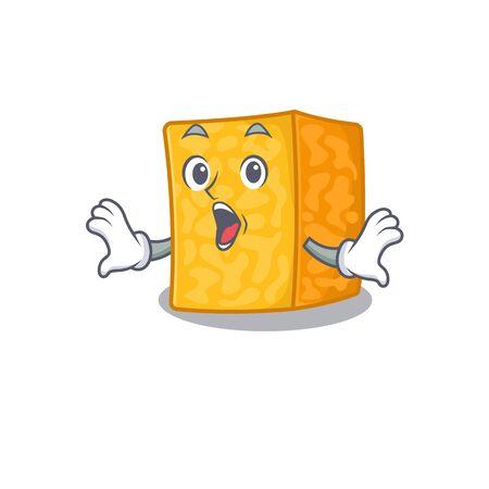 colby jack cheese cartoon character design on a surprised gesture Ilustração