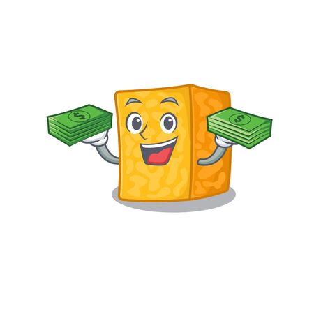 happy rich colby jack cheese character with money on hands 向量圖像