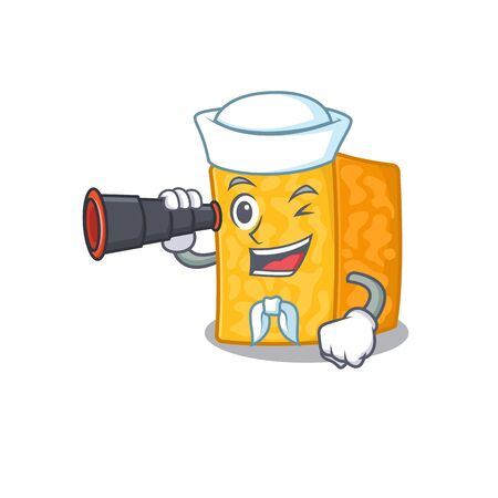 Colby jack cheese cartoon happy Sailor style with binocular Imagens - 138460184