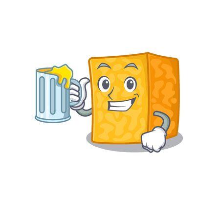Happy colby jack cheese mascot design with a big glass Ilustração