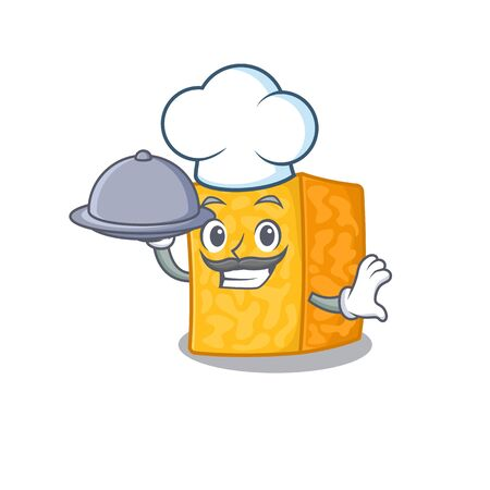 cartoon design of colby jack cheese as a Chef having food on tray Imagens - 138460185