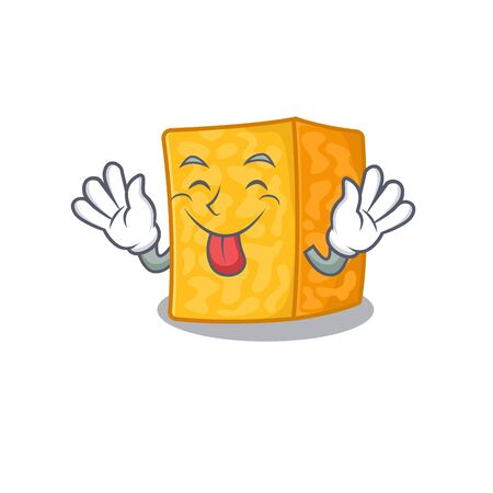Cute colby jack cheese cartoon mascot style with Tongue out Imagens - 138460186