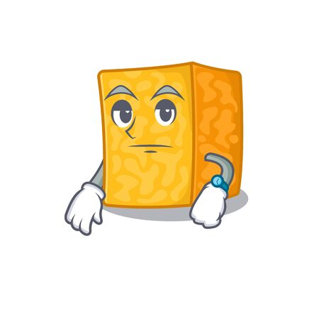 cartoon character design of colby jack cheese on a waiting gesture Imagens - 138460187