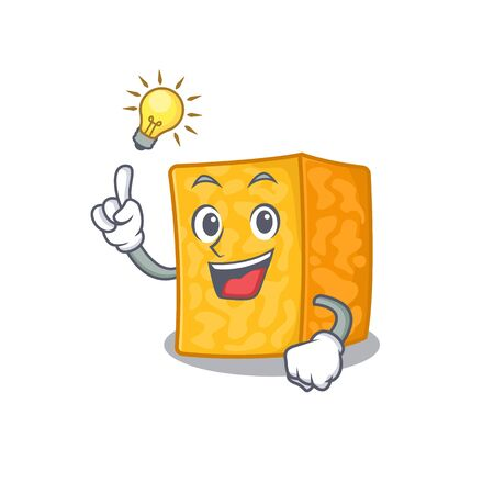 Have an idea gesture of colby jack cheese cartoon character design