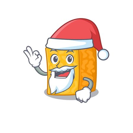 A picture of Santa colby jack cheese mascot picture style with ok finger