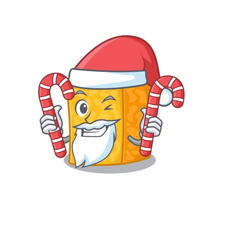 Colby jack cheese Cartoon character in Santa costume with candy