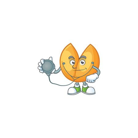 Chinese fortune cookie cartoon character style in a Doctor costume with tools. Vector illustration Çizim