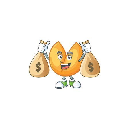 A picture of rich chinese fortune cookie cartoon character with two money bags. Vector illustration Çizim