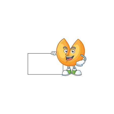 Cheerful chinese fortune cookie cartoon character having a board. Vector illustration