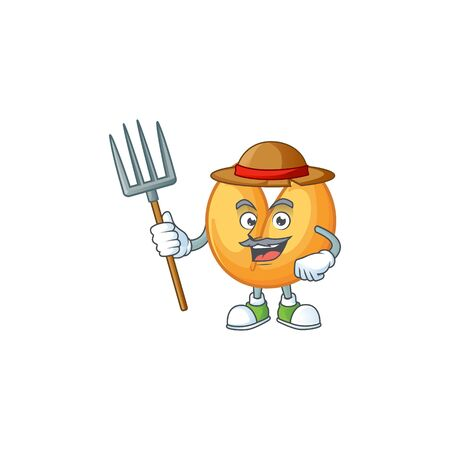 Cute Farmer chinese fortune cookie cartoon mascot with hat and tools. Vector illustration