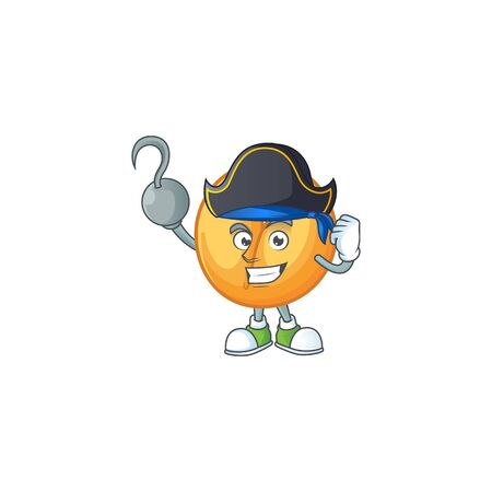 Cool one hand Pirate chinese fortune cookie cartoon character wearing hat. Vector illustration Stok Fotoğraf - 138438913