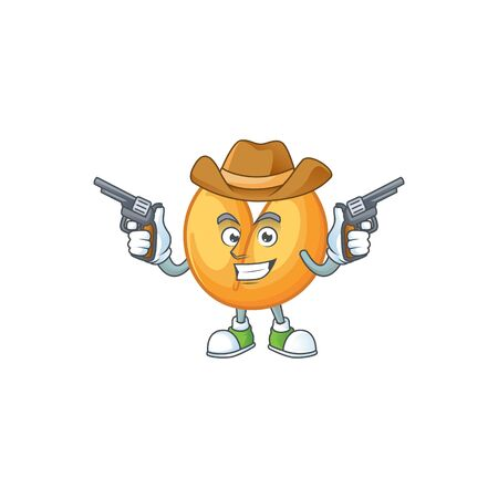 Confident chinese fortune cookie Cowboy cartoon character holding guns. Vector illustration Çizim