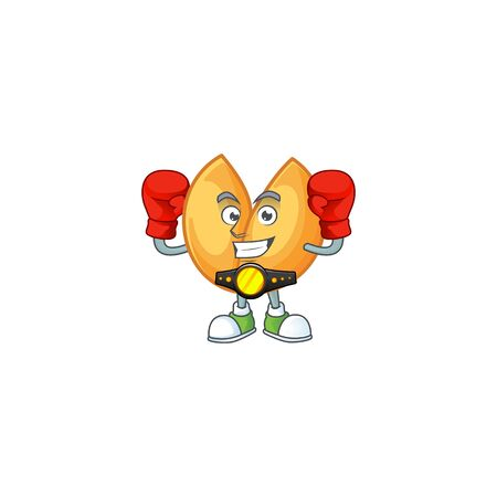 Happy Face Boxing chinese fortune cookie cartoon character design. Vector illustration