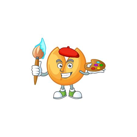 Smart chinese fortune cookie painter mascot icon with brush. Vector illustration Çizim