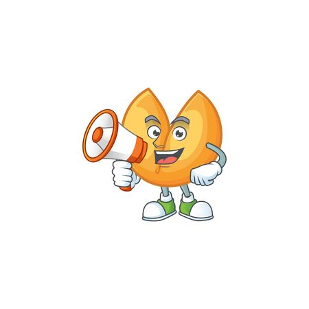 Cool cartoon character of chinese fortune cookie holding a megaphone. Vector illustration Çizim
