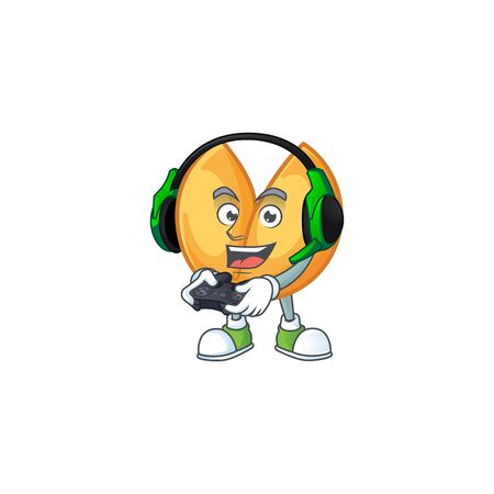 Cool chinese fortune cookie cartoon mascot with headphone and controller. Vector illustration