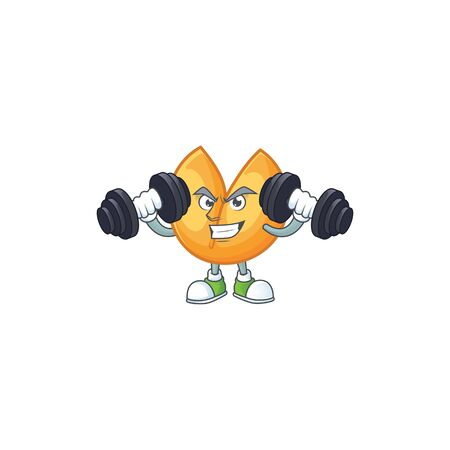 Fitness exercise chinese fortune cookie mascot icon with barbells. Vector illustration