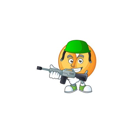 Chinese fortune cookie carton character in an Army uniform with machine gun. Vector illustration