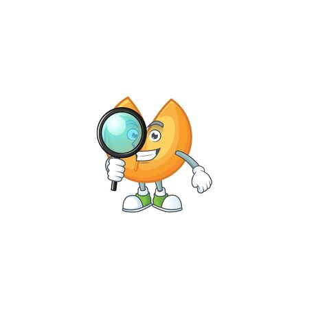 Smart One eye chinese fortune cookie Detective character style. Vector illustration