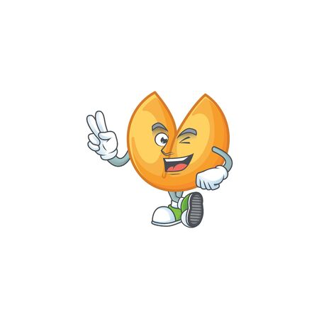 cartoon mascot design of chinese fortune cookie with two fingers. Vector illustration Çizim