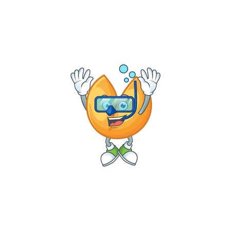 cartoon character of chinese fortune cookie wearing Diving glasses. Vector illustration