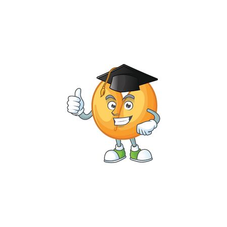 happy and proud of chinese fortune cookie wearing a black Graduation hat. Vector illustration Stok Fotoğraf - 138438599