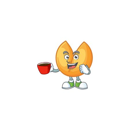 cartoon character of chinese fortune cookie with a cup of coffee. Vector illustration Çizim
