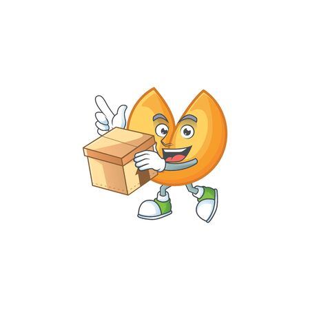 Cute chinese fortune cookie cartoon character having a box. Vector illustration Illustration